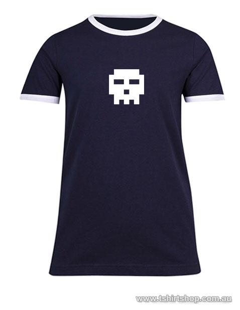 navy blue pixel skull ringer t-shirt