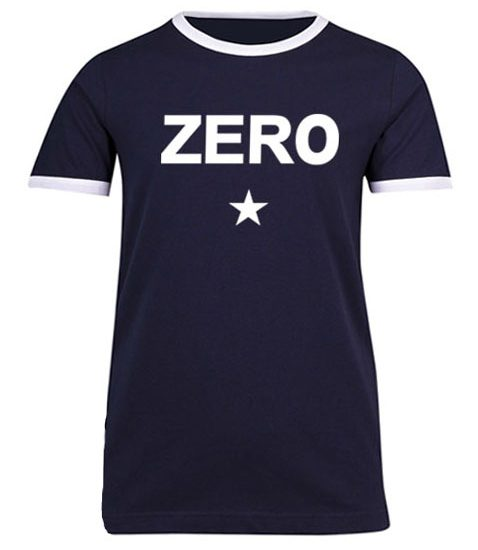 Unisex ringer tee with zero written on ot and a star