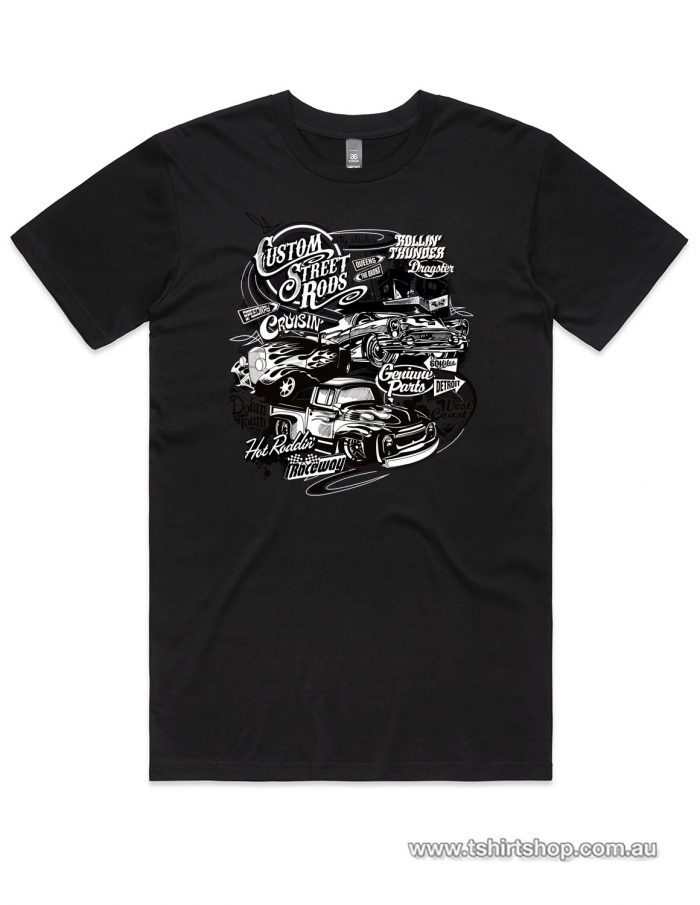 Black classic hot rods t-shirt