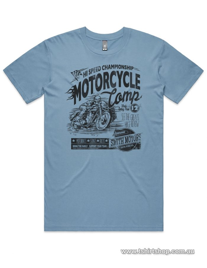 blue motorcycle comp tee