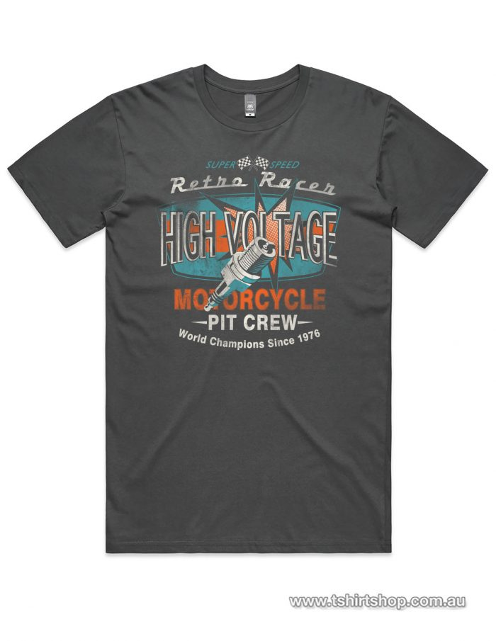 high voltage charcoal motorbike t-shirt