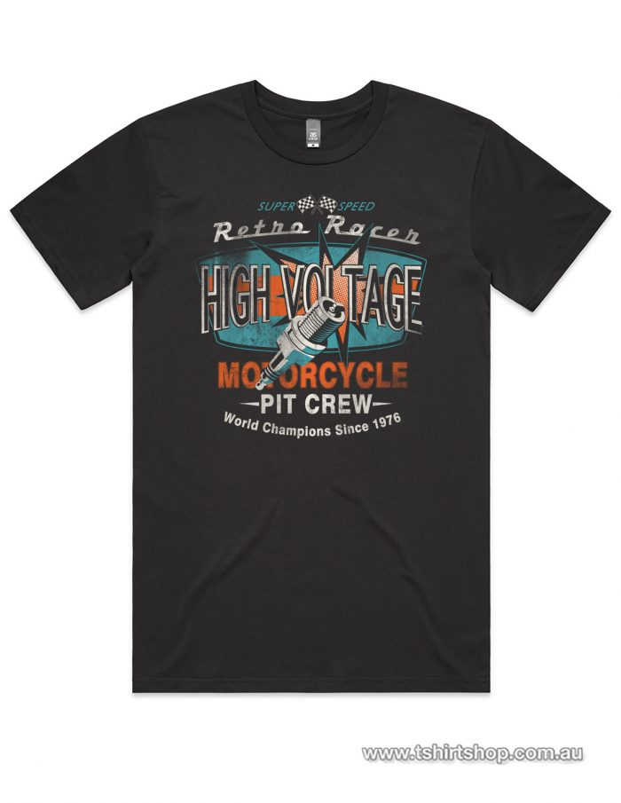 Coal colours motorcycle t-shirt with high voltage