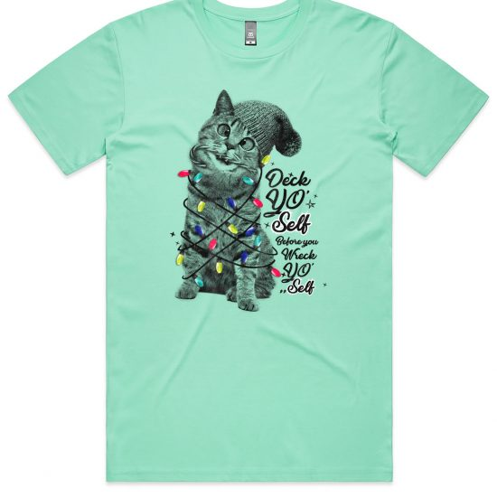 Cute kitten with christmas lights on an Aqua shirt