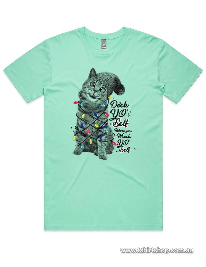 Cute kitten with christmas lights on an Aqua shirt