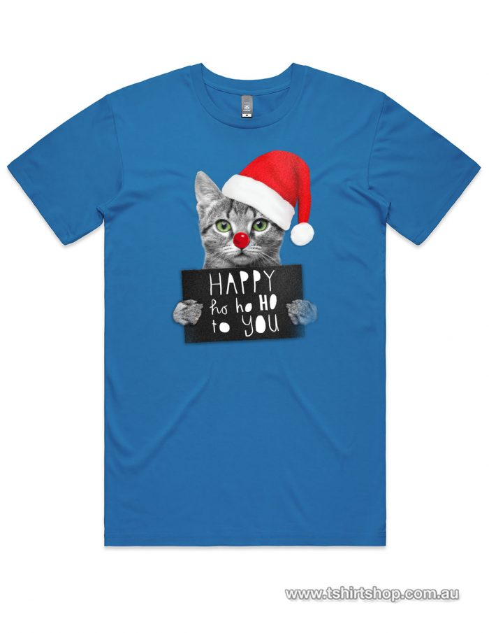 Cute kitten with a santa hat t-shirt in a nice blue colour
