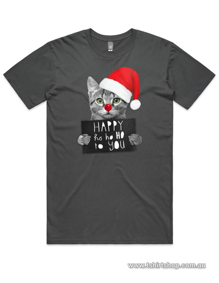 Cute kitten with a santa hat t-shirt in a Charcoal colour