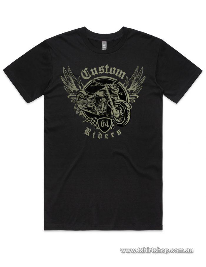 black custom riders club shirt