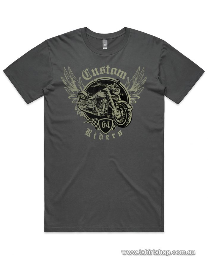 custom motocycle club shirt in charcoal