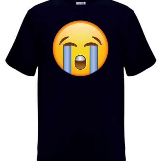 The crying face emoji on a t-shirt